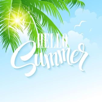 Hola tarjeta de felicitación de verano