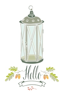 Hola tarjeta con lámpara vintage y dos ramas de roble