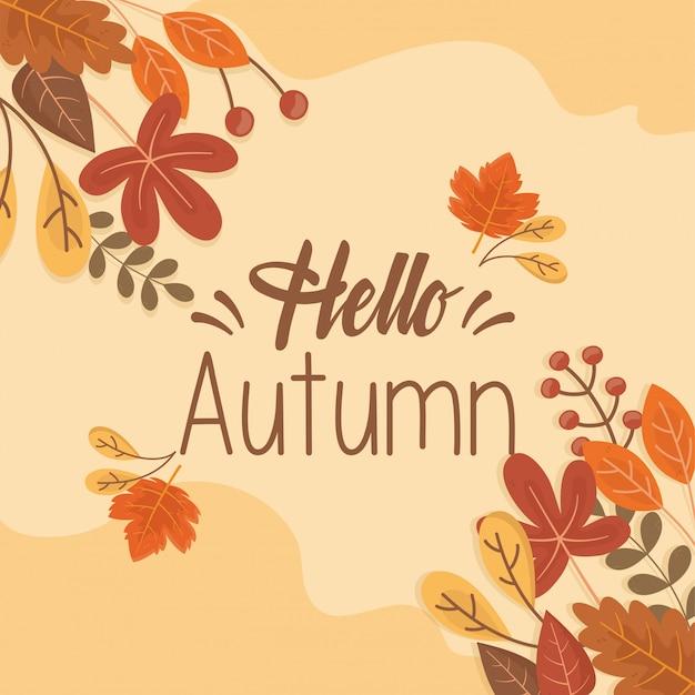 Hola tarjeta de otoño
