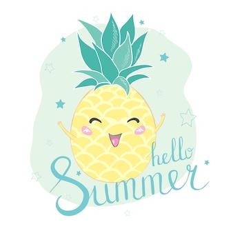 Hola tarjeta de personaje de piña de verano