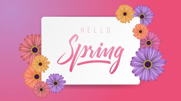 Hola tarjeta de primavera bacgkround