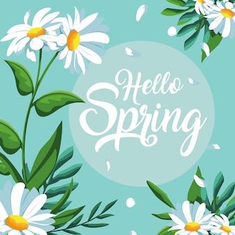Hola tarjeta de primavera con decoración de flores hermosas