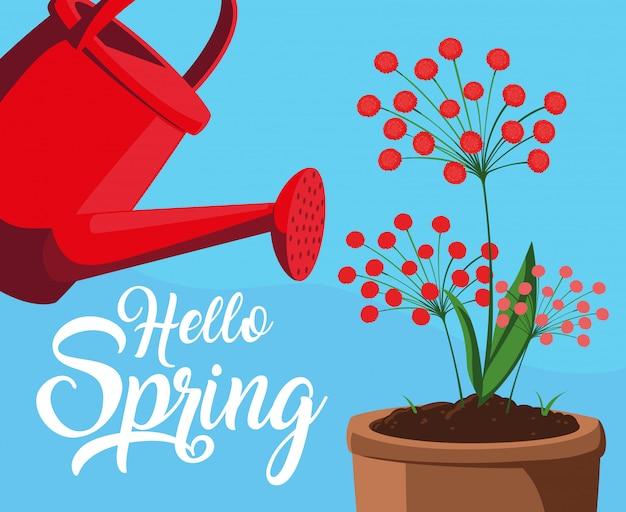 Hola tarjeta de primavera con flores y regadera de plástico