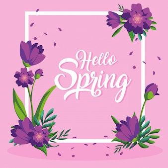 Hola tarjeta de primavera con hermosas flores en el marco