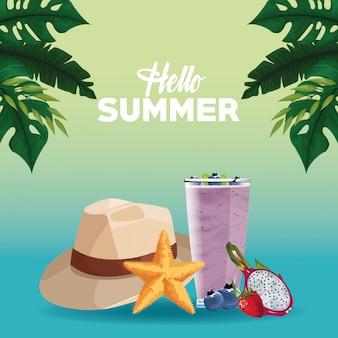 Hola tarjeta de tarjeta de verano en estilo de dibujos animados