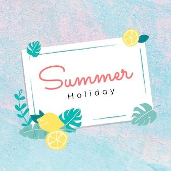Hola tarjeta de vacaciones de verano