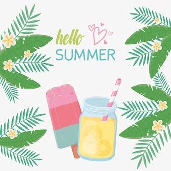 Hola tarjeta de verano con cóctel fresco.