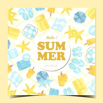 Hola tarjeta de verano con elementos de playa.