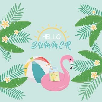 Hola tarjeta de verano con flotador flamenco.