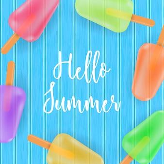 Hola tarjeta de verano con helado sobre fondo de madera azul