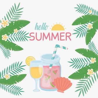 Hola tarjeta de verano con los iconos de cóctel fresco