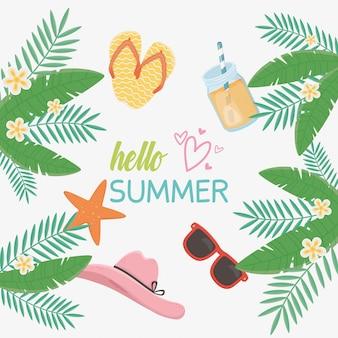 Hola tarjeta de verano con iconos de sombrero femenino