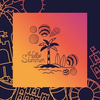 Hola tarjeta de verano con marco.