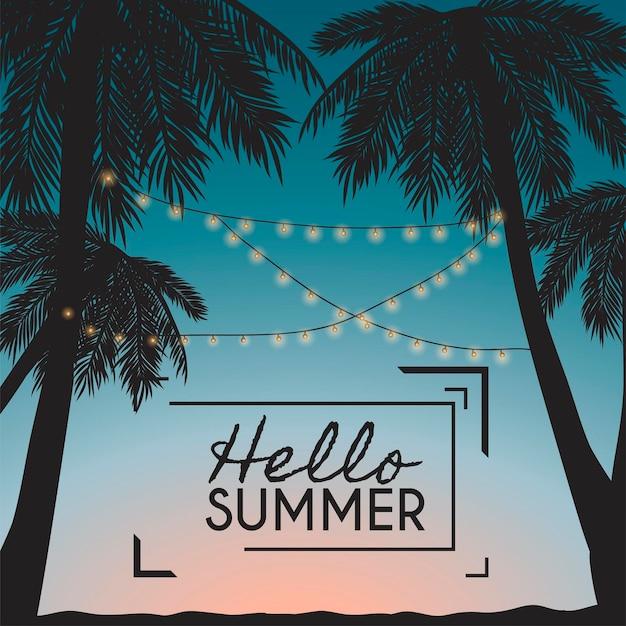 Hola tarjeta de verano con palmeras y guirnaldas.