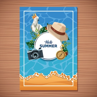Hola tarjeta de verano sobre fondo de madera.