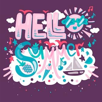 Hola tarjeta de verano tropical