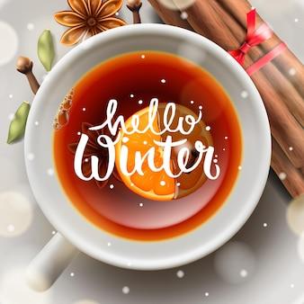 Hola té de invierno con canela y especias vector de la imagen