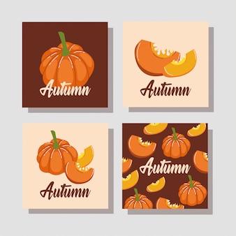Hola temporada de otoño calabazas vegetales