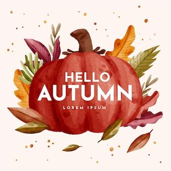 Hola texto de otoño en ilustración acuarela