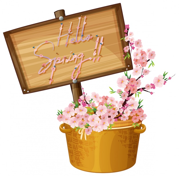 Hola texto de primavera con ilustración de flores