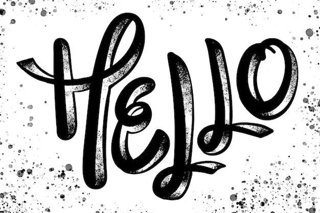 Hola tipografía de mensaje de saludo.