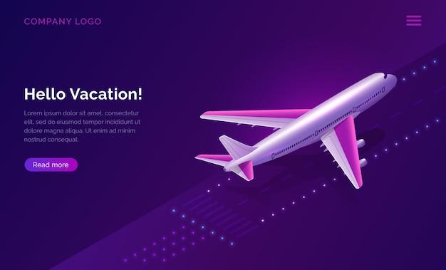 Hola, vacaciones, avión de concepto de viaje despegando