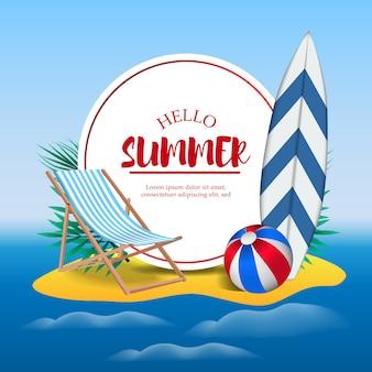 Hola vacaciones de verano, viajes de vacaciones en la isla de la playa.