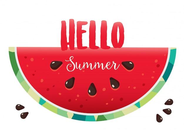 Hola vector de fondo de sandía de verano