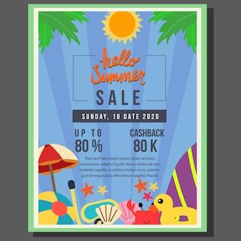 Hola venta de plantilla de cartel de verano con ilustración de vector de borde de estilo plano