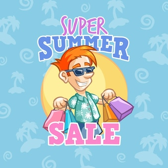 Hola venta de verano con hombre y compras