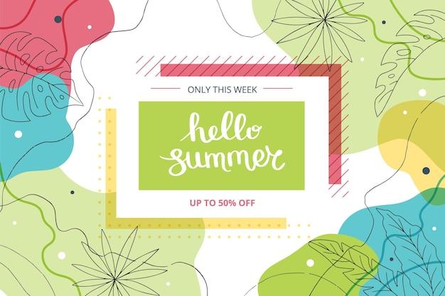 Hola verano banner con hojas tropicales e ilustración de formas abstractas con letras