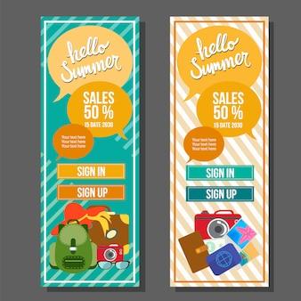 Hola verano banner vertical plantilla vintage vector ilustración de viaje