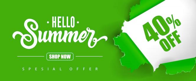 Hola verano compra ahora oferta especial cuarenta por ciento de descuento en letras.