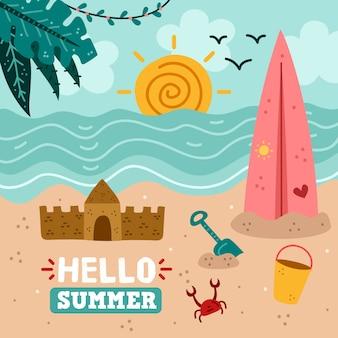 Hola verano dibujado a mano
