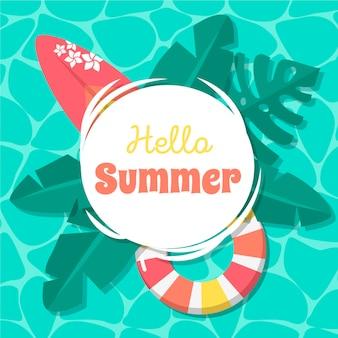 Hola verano en diseño plano