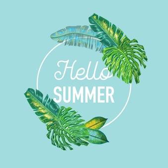 Hola verano diseño tropical con hojas de palmera.