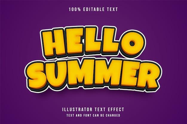 Hola verano, efecto de texto editable 3d gradación amarilla efecto de estilo de juego naranja