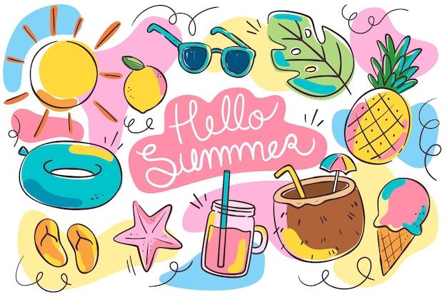 Hola verano con elementos esenciales de playa.