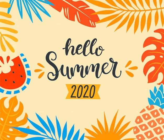 Hola verano, elementos tropicales.