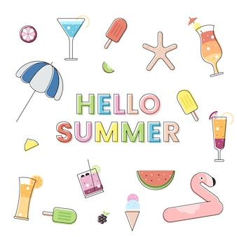 Hola verano con elementos de verano.