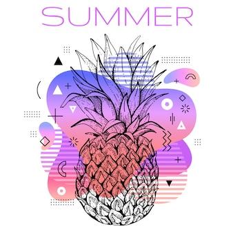 Hola verano estilo memphis con dibujo de piña.