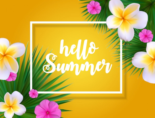Hola verano floral fondo floral con marco