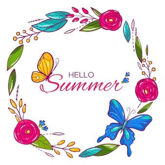 Hola verano con flores y mariposas.