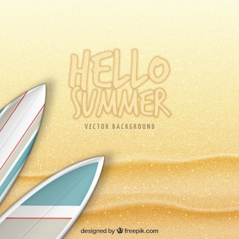 Hola verano con fondo de arena