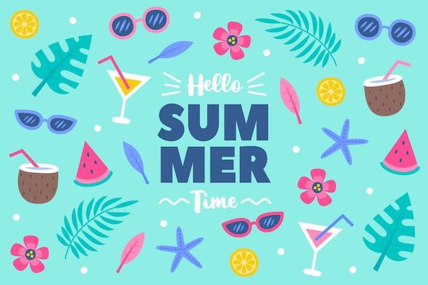 Hola verano en el fondo dibujado a mano agua