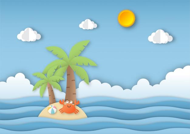 Hola verano con fondo de paisaje de playa. estilo de arte de papel.