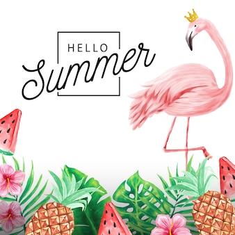 Hola verano fondo de plantas tropicales y flamencos.