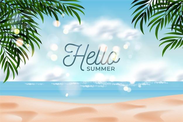 Hola verano en el fondo realista de playa