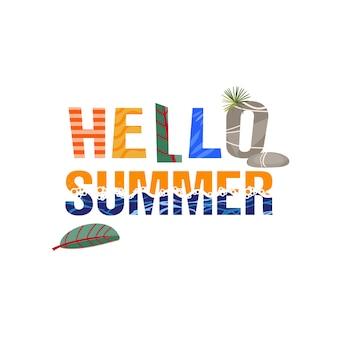 Hola verano. la frase es de estilo tropical de las hojas y las olas del mar.