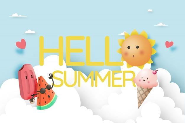 Hola verano con frutas tropicales y helado.
